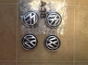 Volkswagen Set Of 4 Wheel Center Chrome Black Caps Genuine