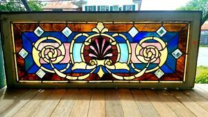 Great Victorian Stained Glass Window 19 X 48