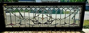 Victorian Clear Leaded Stained Window W Chunk Jewels
