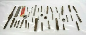 Vintage Tap And Die Lot With Rulers 40 Pieces Tf