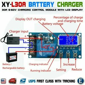 Xy l30a Dc 6 60v 30a Lithium Battery Charging Control Module Lcd Display Charger