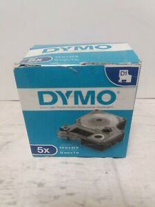 genuine Dymo White On Clear Tape 45020 D1 12mm X 7m 1 2 X 23ft 5 Pack