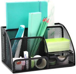 Gdindinfan Mesh Desk Organizer Pen Holder Accessories Storage Caddy With 6 Compa