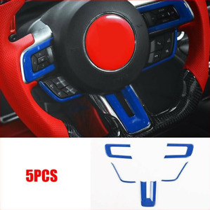 Car Steering Wheel Trim Frame Cover Fits Ford Mustang 2015 2020 Abs Blue