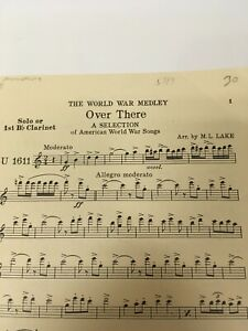 Clarinet Sheet Music The World War Medley Over There By M.L. Lake