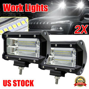 2pcs 5 Inch 12v 672w Led Work Light Bar Flood Pods Driving Off Road Tractor 4wd