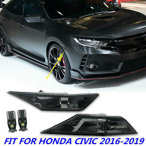 Fit For Honda Civic 16 19 Smoke Tinted Lens Side Marker Lamps Light W Led