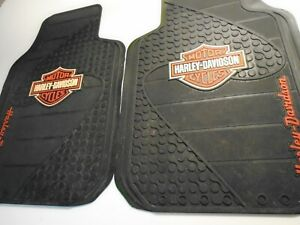 Harley Davidson Classic Front And Rear Car Truck Rubber Floor Mats Set Clean