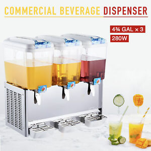 Commercial Beverage Dispenser 14 3 Gal 3 Tanks Drink Soda Iced Tea Juice Machine