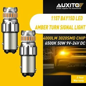 Auxito Amber Yellow Led Front Turn Signal Drl Parking Light Bulbs 1157 7528 2pcs