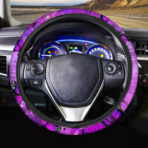 Purple Cloth Butterfly Car Steering Wheel Cover For Women Fashion Auto Protector