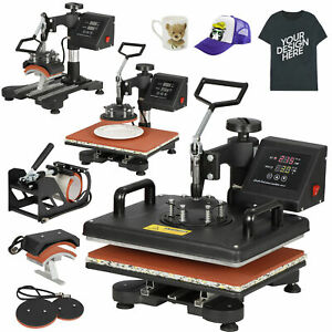 Combo Kit Sublimation Swing Away 5 In 1 Heat Press Machine For T shirts 12 x15
