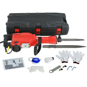 Demolition Jack Hammer Construction Concrete 2200w Electric Breaker Punch 2 Bits