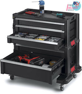 Rolling Tool Chest With Storage Drawers Locking System And 16 Removable Bins