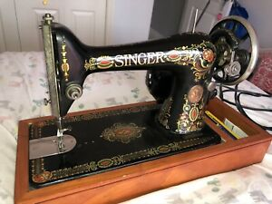 Antique Singer Sewing Machine Model 66 Red Eye 1919