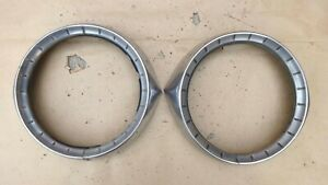 1954 Chevy Headlight Bezels Original Gm Pair Stainless Rings Doors Bel Air