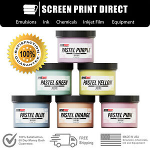 Screen Printing Plastisol Ink Kit Low Temp Cure 270f 6 Pastel Colors 8oz