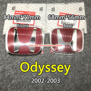 Fit For Honda Odyssey 2002 2003 H Red Logo Sign Badge Front Rear Jdm Car Type R