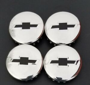 4 2014 2020 Chevy Polished Center Caps Permanent Black Bowties 3 25 83mm