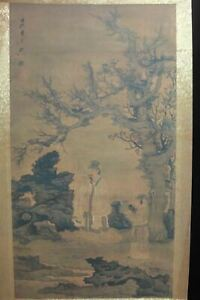 Old Large Chinese Scroll Hand Painting Landscape Figures Chenhongshou