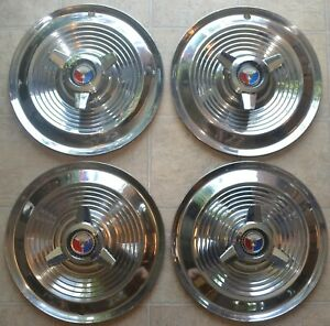 1963 1964 Ford Galaxie 406 427 Hubcaps Set Of Oem 15 Spinner Full Wheel Covers