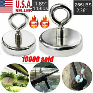 Fishing Magnet Super Strong Neodymium Round Thick Eyebolt Treasure Hunt 255lb Us