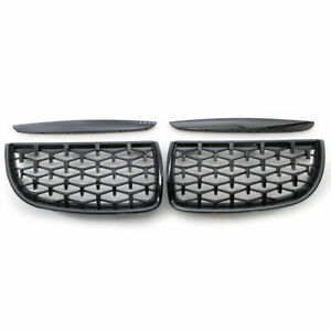 For Bmw 3 Series E90 E91 05 08 Diamond Black Front Kidney Dual Slat Grill Grille