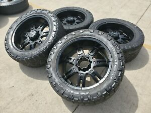 22 22x10 M T Chevy Dodge Ram 2500 3500 Wheels Rims 35x12 5x20 Tires 8x165 8x6 5