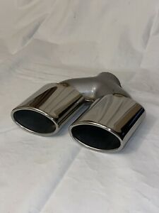 Dual Oval Outlet 2 Inlet Dual Staggered Exhaust Tips Muffler Chrome