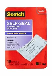 Scotch Self sealing Laminating Pouches Business Card Size 2 Inches X 3 5 In