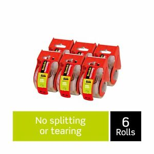 Scotch Sure Start Shipping Packaging Tape 6 Rolls With Dispenser 1 88 X 22