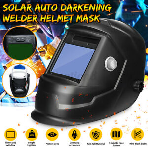Solar Auto Darkening Welding Helmet Large View Area Arc Tig Mig Welder New