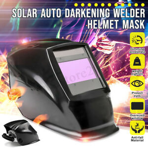 Big View Area Solar Auto Darkening Welding Grinding Welder Helmet Arc Mig New