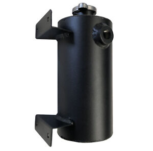 Universal Aluminum Expansion Coolant Overflow Tank Round Style With Cap Black