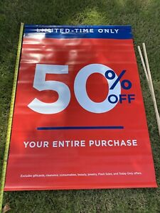 Huge 50 Off Sale Vinyl Banner Sign W Hang Rods 55 X 39 Giant w Exclusions