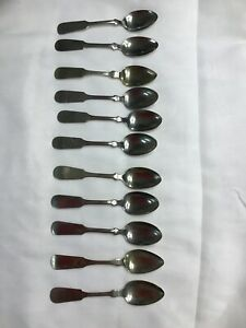 11 Antique Fiddleback Handle Hall Elton Teaspoons Nickle Silver
