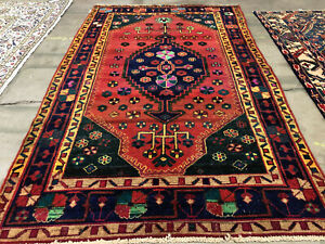 5x8 Vintage Rug Hand Knotted Wool Geometric Handmade Antique Mint 5x7 4x8 4x7 Ft