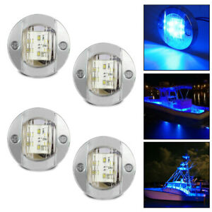4x Round Marine Boat Led Stern Lights Blue Cabin Deck Courtesy Light Waterproof