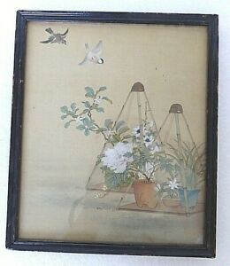 Vintage 1930 S Chinese Framed Color Painting On Silk 1 Peony Flowers