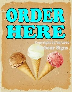 Ice Cream Order Here Decal choose Your Size V Food Truck Concession Sticker