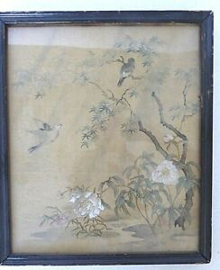 Vintage 1930 Chinese Framed Color Painting On Silk 6 Birds On Maple Tree
