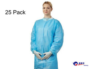 25 Pack Ppe Disposable Protective Isolation Gowns Aprons Dental Polyethylene
