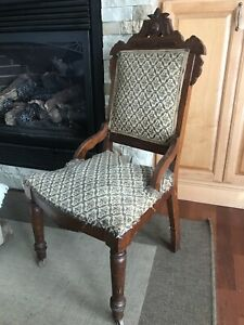 Antique Victorian Eastlake Carved Burl Wood Dining Side Accent Chair