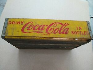 Vintage Early COCA-COLA Wood  Crate Box Yellow  Paint cool