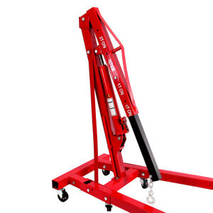 0 5 2 Ton Red Color Engine Motor Hoist Cherry Picker Shop Crane Lift Foldable