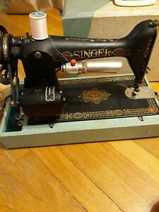 Vintage Singer Champion Sewing Machine Black Color With Gold Etching