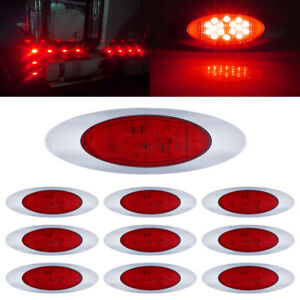 10x Red Side Marker Lights Clearance 16 Led Chrome For Freightliner Semi Truck