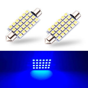 2 X Blue Led Interior Map Dome Trunk Lights 42mm 578 211 2 212 2 Festoon Bulbs