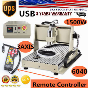 1500w Usb 3 Axis 6040 Cnc Router Engraver Ball Screws Milling 3d Cutter remote