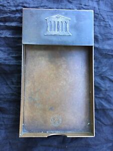 Antique Silvercrest Sterling On Bronze Check Tray For M T Bank Arts Crafts